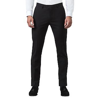 Nytte London Mens svart bukse Slim Fit