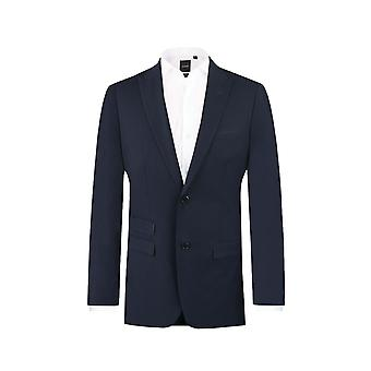 Dobell Mens Navy Sakko Slim Fit Fahrleistung/Notch Revers