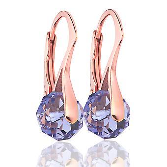 Ah! Jewellery Tanzanite Briolette Crystals From Swarovski Earrings, Sterling Silver