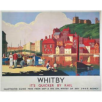 Whitby Houses (old rail ad.) mounted print