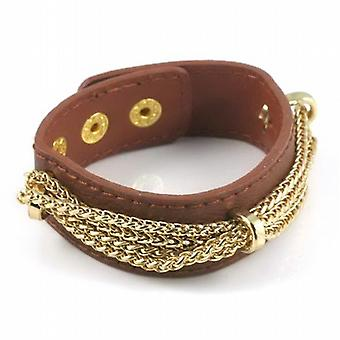 Thomas Calvi Unisex Brown Leatherette Goldtone Multi-Chain Bracelet Band