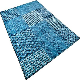 Rugs - Happy Patchwork Knit - Turquoise
