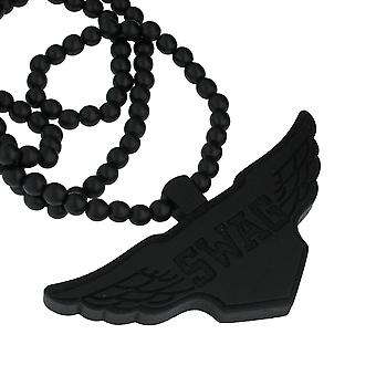 Wood Style Bead necklace-SWAG WINGS black