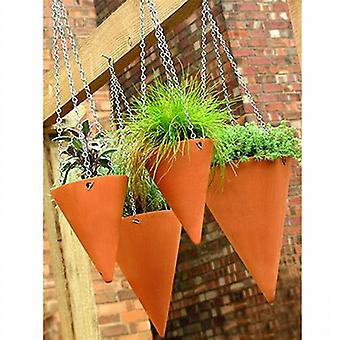 Large Terracotta Hanging Cone Planter x 1