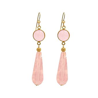 Gemshine earrings rose quartz gemstone drops in 925 silver or gold plated