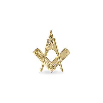 Jewelco London Men's Solid 9ct Yellow Gold Openning Closing Square & Compass Masonic Pendant