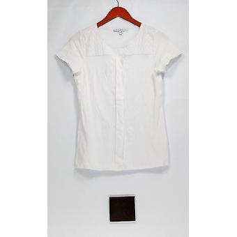 Isaac Mizrahi Live! Top XXS Short Sleeve Knit Top Eyelet Shoulders White A275428