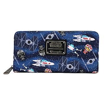 Star Wars Chibi X-Wing / TIE Fighter Zip-Around Wallet