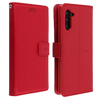 Flip wallet case, slim cover Samsung Galaxy Note 10, silicone shell - Red