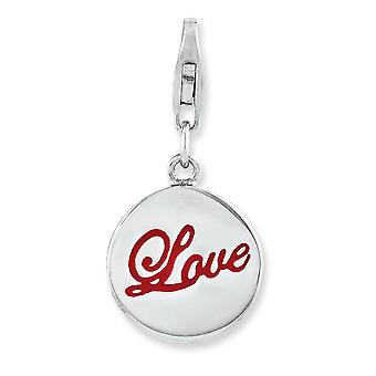 925 Sterling Silver Rhodium plaqué Fancy Lobster Closure Rhodium Plaqué Enameled Love With Lobster Clasp Charm