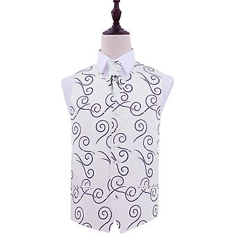 Purple Scroll Patterned Wedding Waistcoat & Cravat Set