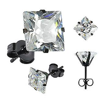 Urban Male Black Stainless Steel Square CZ Set Stud Earrings 9mm