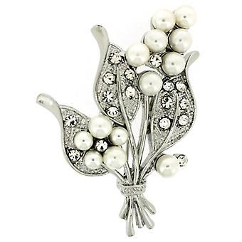 Broscher Store Silver Triple Crystal Leaf & blomma pärla bukett brosch