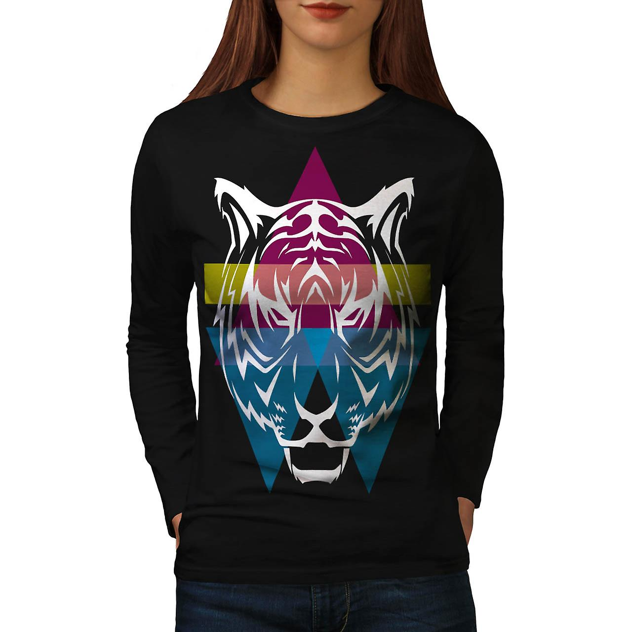 Triangle Tiger Face Wild Animal Women Black Long Sleeve T-shirt | Wellcoda