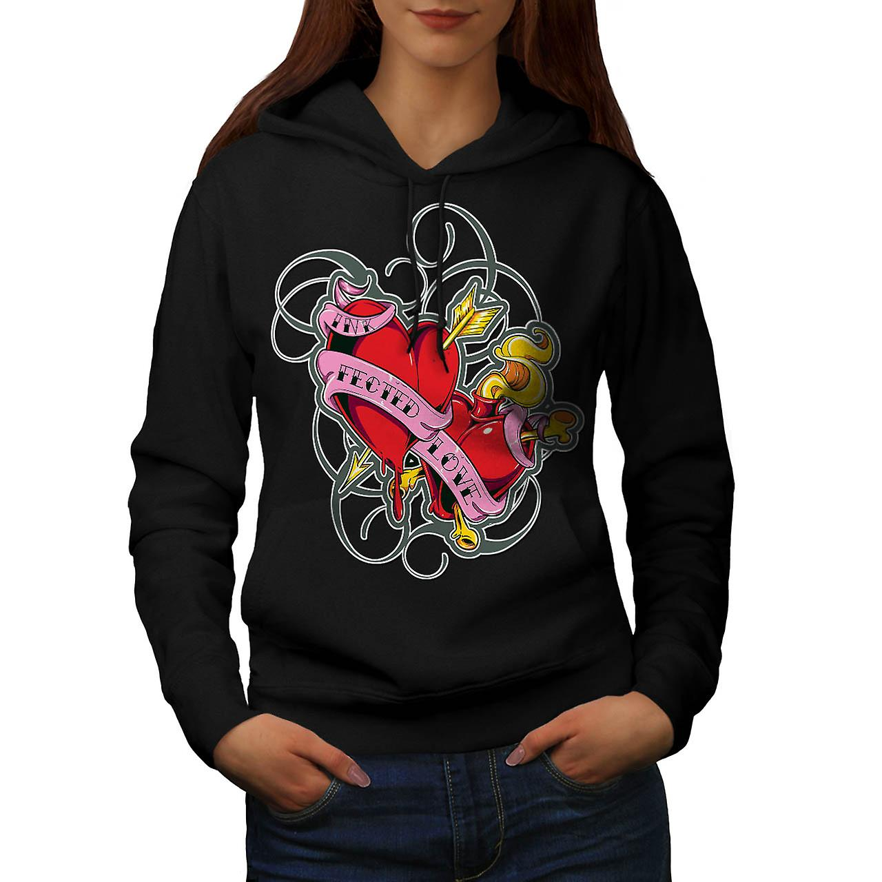 Infected Ink Love Tattoo Design Women Black Hoodie | Wellcoda
