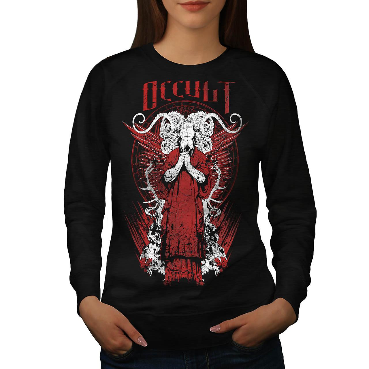 Occult Satan Devil Skull Women Black Sweatshirt | Wellcoda