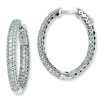 Sterling Silver Pave Polished Hinged hoop Safety clasp Rhodium-plated .81 inch diameter Cubic Zirconia Hoop Earrings
