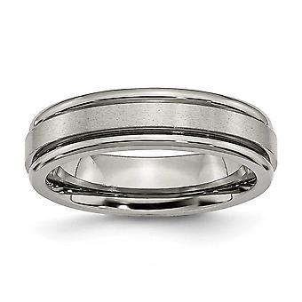 Titanium Engravable polerad och satin räfflad kant 6mm Satin polerade Band Ring - Ring storlek: 6 – 14