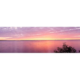 Sunset over a lake Castle Rock Lake Wisconsin USA Poster Print