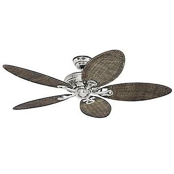"Ceiling Fan SAVOY 132 cm / 52"" brushed chrome / wicker blades"