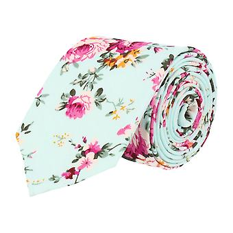 Snobbop 6 cm narrow tie light blue floral