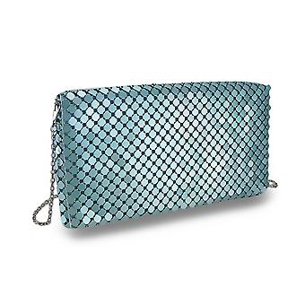 Metallic Sequin Mesh Clutch Purse w/Detachable Chain