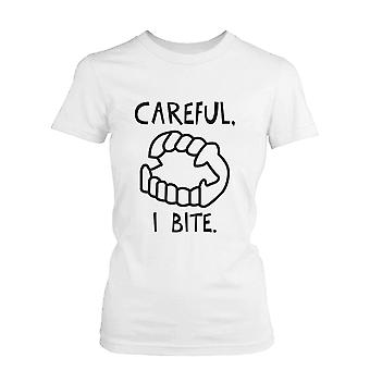 Careful I Bite Funny Women's Tshirt White Crewneck Graphic Tee for Halloween Funny Shirt