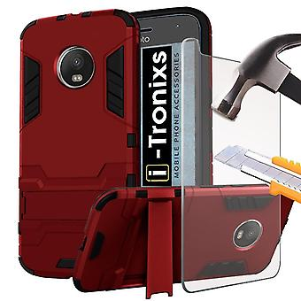 Motorola Moto G5 2017 / Lenovo moto G5 case (Red) Cover High Quality MODERN Geometric Design [Ultra Armor] Tough Durable [Kickstand Feature] Survivor Hard Rugged [Shock Proof Case] Anti-Scratch Protective Sleekwith Back Stand Skin Case Cover + Tempered Glass Screen Protector + FREE SCREEN PROTECTOR FILM By i-Tronixs