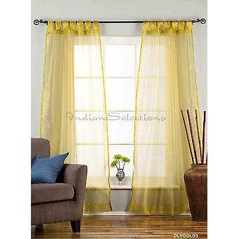 Olive Gold Tab Top Sheer Tissue  Curtain / Drape / Panel  - 84