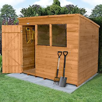 Forest Garden 8x6ft Overlap Dip Treated Pent Wooden Garden Shed