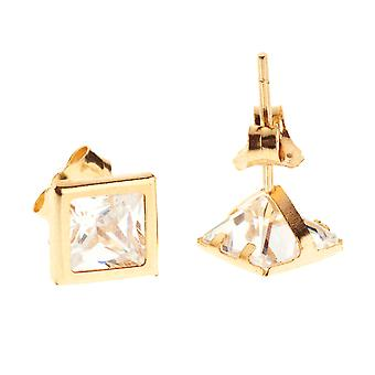 14 K Gold iced out Stud Earrings - BEZEL SQUARE 5 mm
