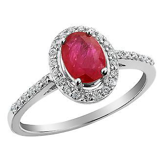 Ruby Ring with Diamonds 9/10 Carat (ctw) in 10K White Gold