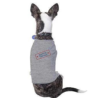 Born In The USA Grey Small Breed Pets T-Shirt For Fourth Of July