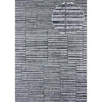 Stripes wallpaper Atlas 24C-5056-3 non-woven wallpaper smooth with graphic patterns and metallic effect silver Platinum grey white 7,035 m2