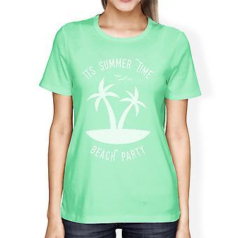 Suo tempo estate spiaggia partito Womens Mint divertente grafica estate camicia
