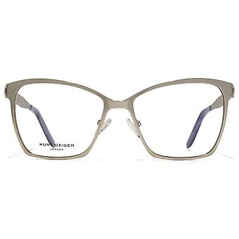 Kurt Geiger Harper Glamour Stainless Steel Square Cateye Glasses In Gunmetal
