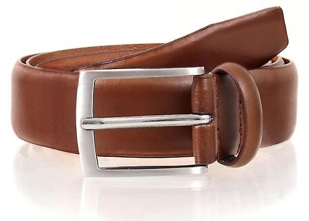 Dents Contrast Leather Belt - Tan