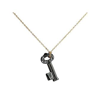 KEY necklace gold-plated with Crystal elements 45 cm