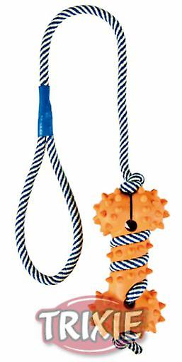 Trixie Borracha Natural Toy óssea com fosforescente Rope