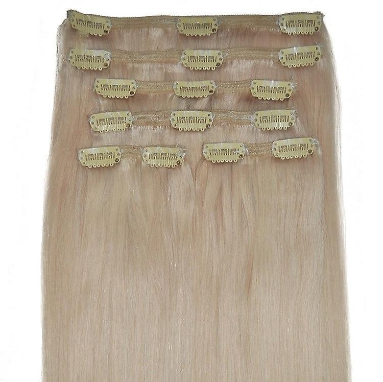 #60 - leichteste Blondine, Luxus, vollen Kopf, echte Clip in Hair Extensions - 100 % Remy, dreifach Schuß, dicken Menschenhaar