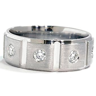 Mens 1ct Diamond Platinum Comfort Fit Wedding Band