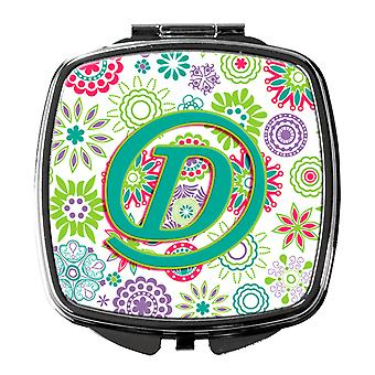Letter D Flowers Pink Teal Green Initial Compact Mirror