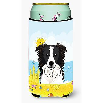 Border Collie Summer Beach Tall Boy beverage Insulator Hugger