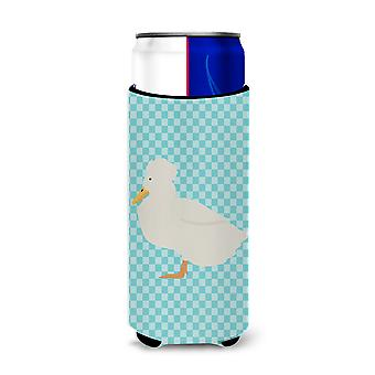 Crested Duck Blue Check Michelob Ultra Hugger for slim cans