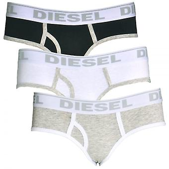 DIESEL Women OXY Cotton 3-Pack Briefs, White / Heather Grey / Black, M