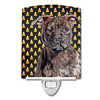 Staffordshire Bull Terrier Staffie Candy Corn Halloween Ceramic Night Light