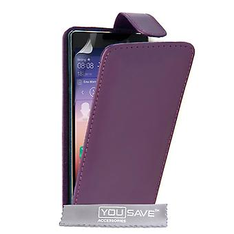 Yousave Zubehör Huawei Ascend P7 Leder-Effekt Flip Case - lila