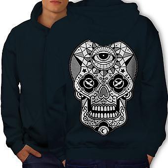 Eye Skull Head Men NavyHoodie Back | Wellcoda