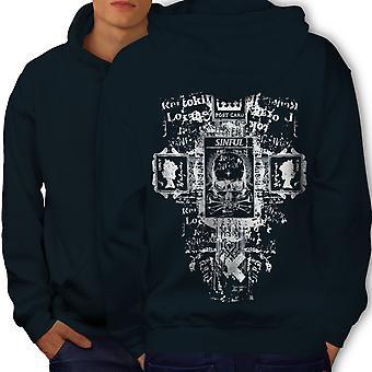 Symbols Goth Vintage Men NavyHoodie Back | Wellcoda