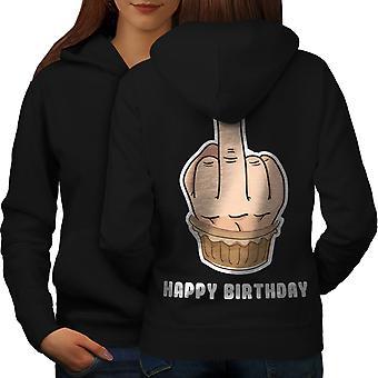 Happy Funny Cake Women BlackHoodie Back | Wellcoda